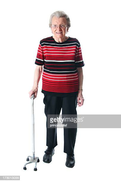 woman with a cane - walking cane stock photos and pictures