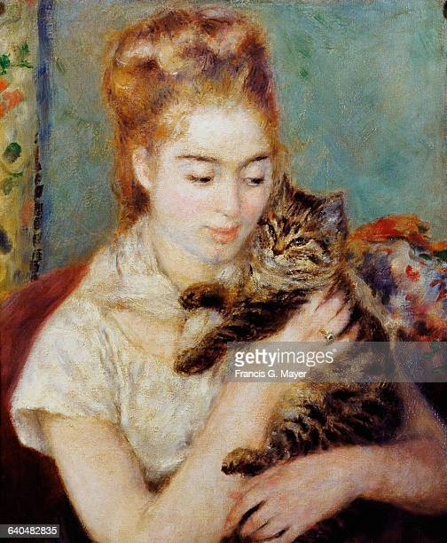 Woman with a Cat by PierreAuguste Renoir