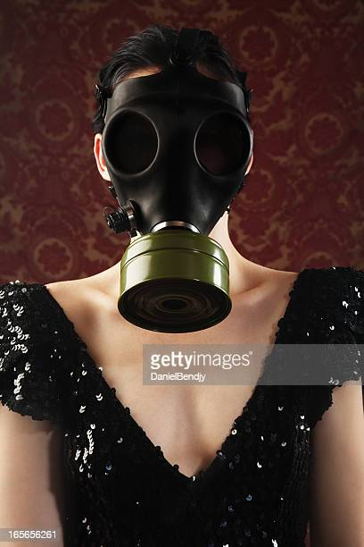 woman with a gas mask - gas mask stock pictures, royalty-free photos & images