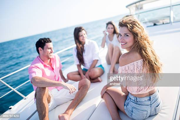 Woman with a group of friends on holidays