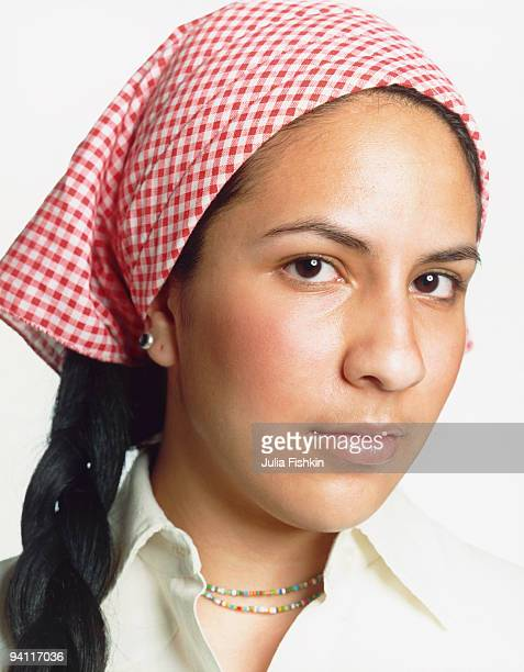 Woman with a head scarf