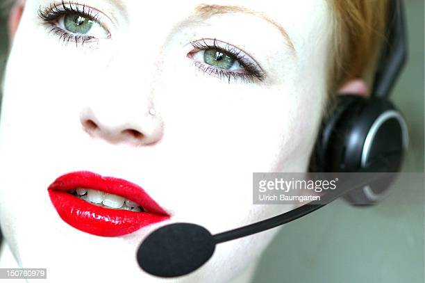 Woman with a headset / callcenter employee