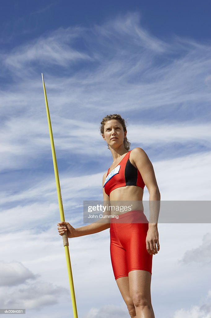 Woman With a Javelin : Stock Photo