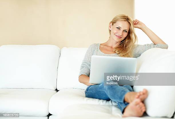 Woman with a laptop at home