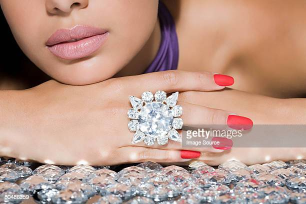 woman with a large diamond ring - ring stock pictures, royalty-free photos & images