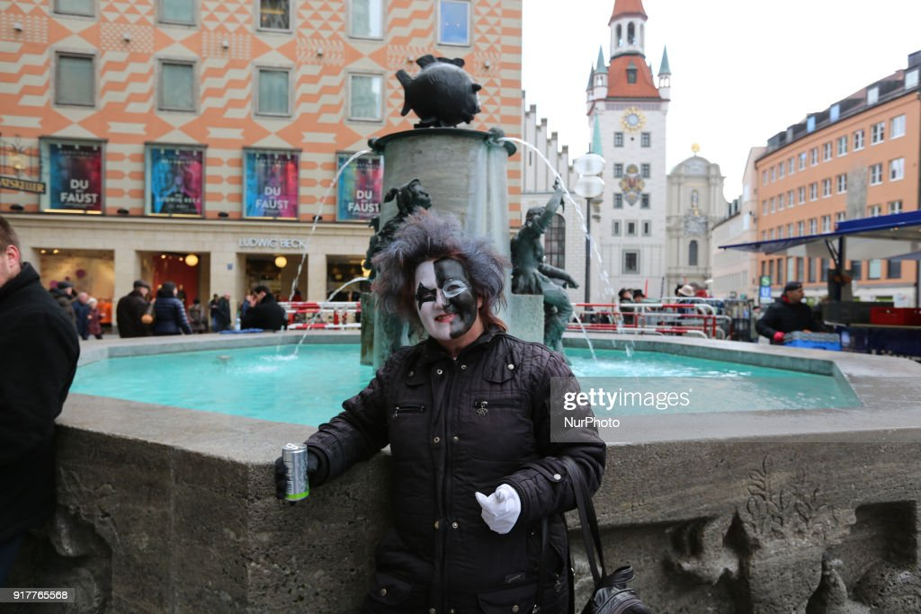 A woman with a painted face is seen in the Munich Carnival, in Munich, Germany, on 13 February, 2018.