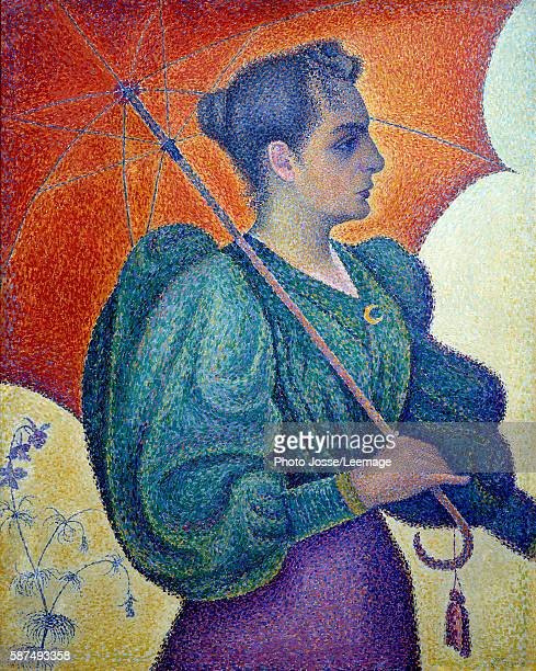 Woman with a Parasol Painting by Paul Signac 1893 Oil on canvas 065 x 081 m Orsay Museum Paris