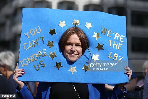 A woman with a placard designed like the EU flag waits as people gathered for a March for Europe protest against the Brexit vote in London on...