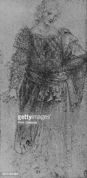 A Woman With a Plaited Bodice and a Cloak over her Left Arm' c1480 From The Drawings of Leonardo da Vinci [Reynal Hitchcock New York 1945] Artist...