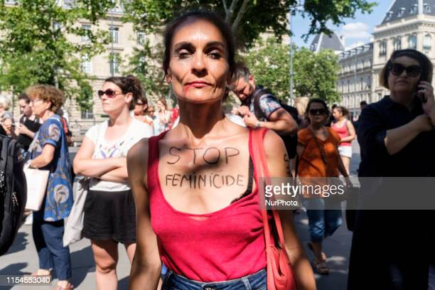 A woman with a quotStop feminicidesquot inscription on her chest during a rally that gathered several hundred people on Saturday July 6 2019 at the...