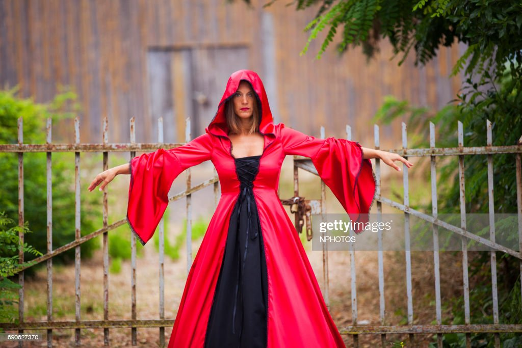 Woman with a red dress : Stock Photo