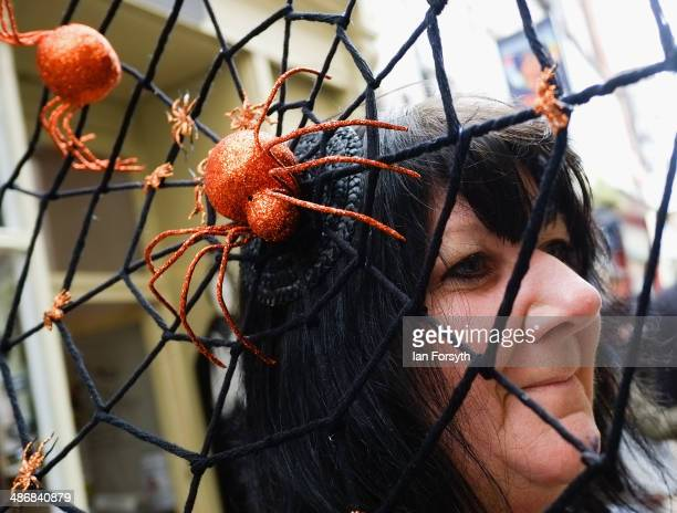 Woman with a spiders web hat visits the Goth weekend on April 26, 2014 in Whitby, England. The Whitby Goth weekend began in 1994 and happens twice...