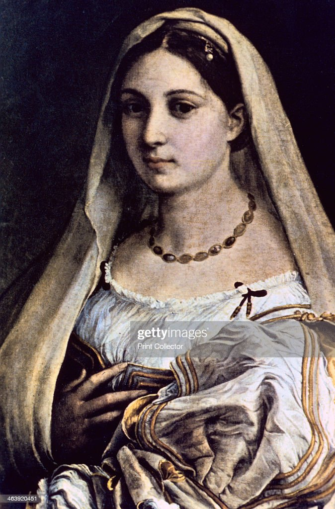 'Woman with a Veil (La Donna Velata)', 1512/13. Tradition identifies the subject with la Fornarina, the woman whom the painter loved in his last years and whose face reappeared in both his paintings (e.g. in the Sistine Madonna) .