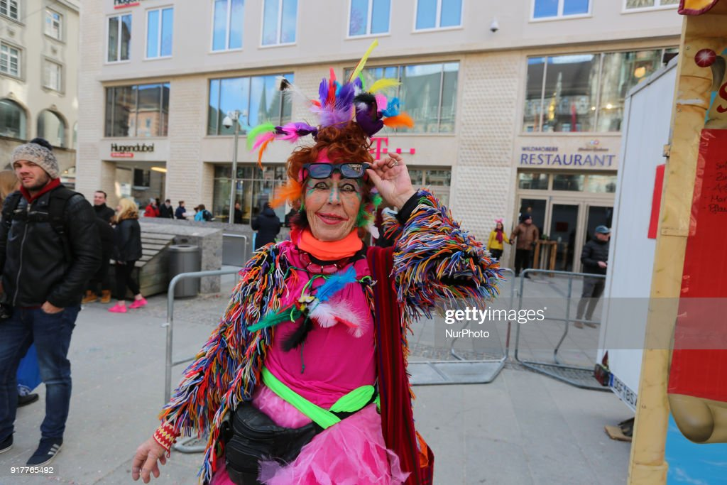 A woman with a very colourful costume is seen in the Munich Carnival, in Munich, Germany, on 13 February, 2018.