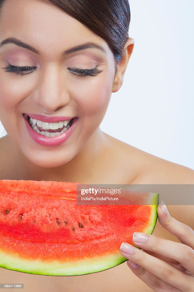 Woman with a watermelon : Stock Photo