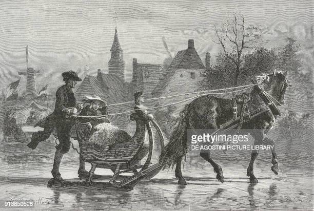 A woman with a young girl is carried on a sledge on ice in the drawing A Zeeland Sledge by Adolf Alexander Dillens Belgian painter illustration from...