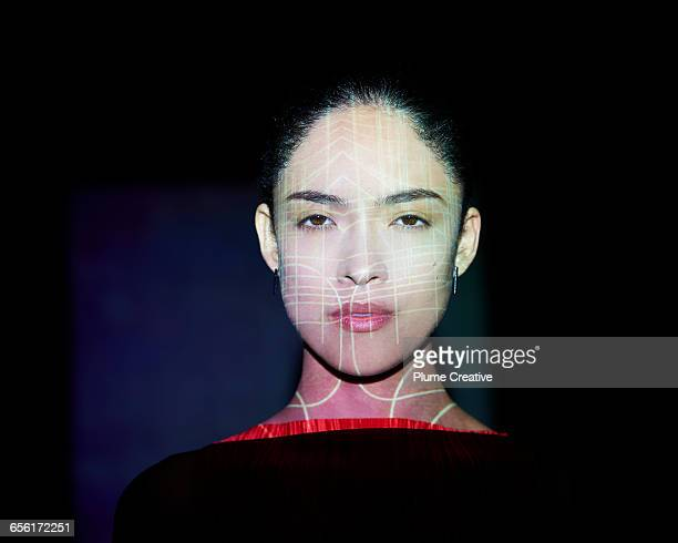 Woman with abstract lines across her face