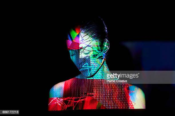 woman with abstract shapes on her face - projektion stock-fotos und bilder
