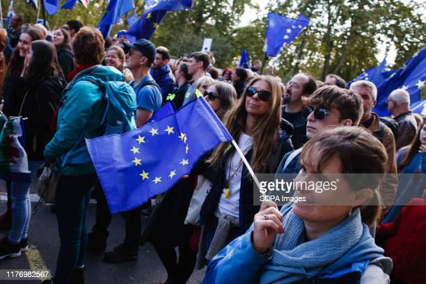 A woman with an EU flag at Piccadilly during the protest A mass 'Together for the Final Say' march organised by the 'People's Vote' campaign for a...