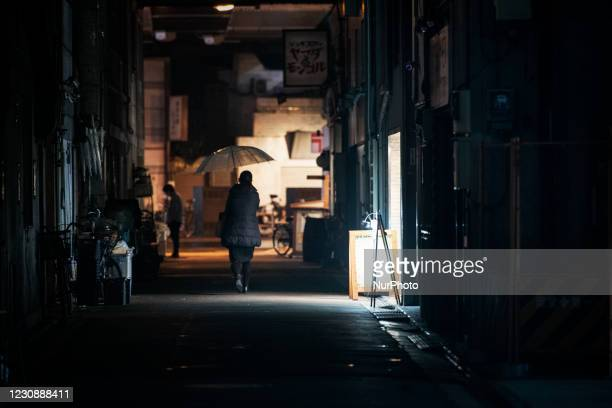 Woman with an umbrella walks under railway viaduct to the station in Tokyo, Japan on 28 January, 2021.