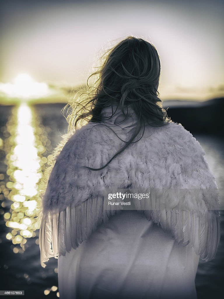 Woman with angel wings. : Stock Photo