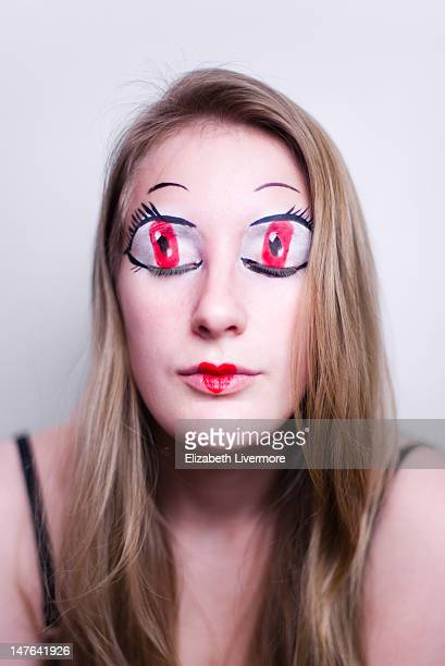 Woman with anime style eyes