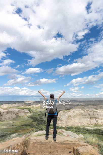 woman with arms raised in badlands of dinosaur provincial park in alberta, canada - rock hoodoo stock pictures, royalty-free photos & images