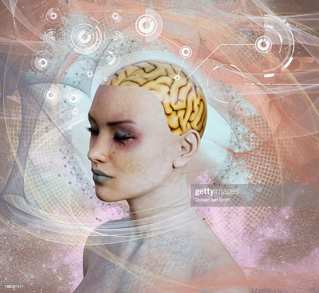 Woman with artificial intelligence brain : Stock-Foto