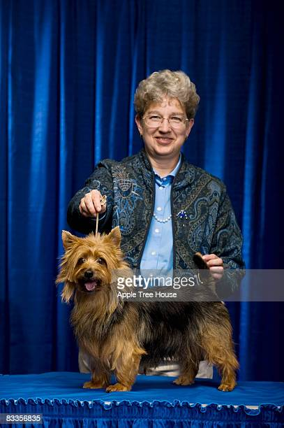 woman with australian terrier at confirmation - dog show stock pictures, royalty-free photos & images
