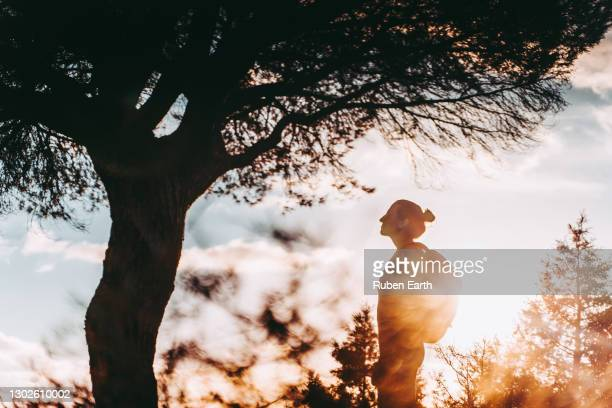 woman with backpack behind a tree in backlight sun - dusk stock pictures, royalty-free photos & images