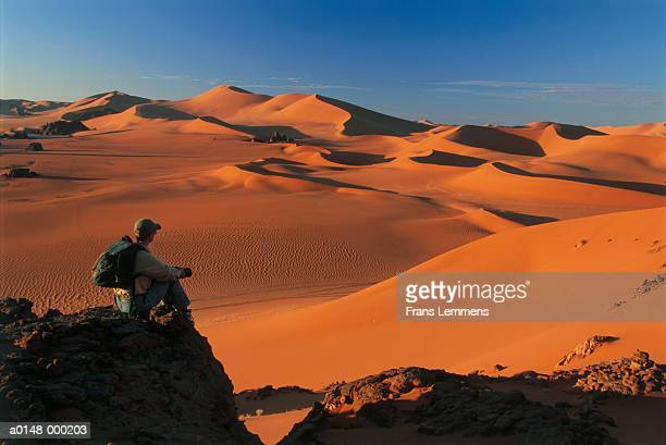 woman with backpack in desert - algeria stock pictures, royalty-free photos & images