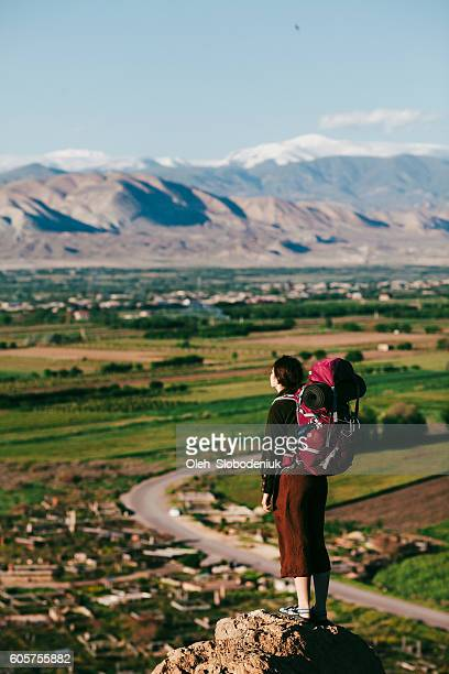 woman with backpack on the background of ararat - armenia stock pictures, royalty-free photos & images