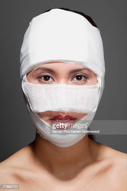Woman with bandages