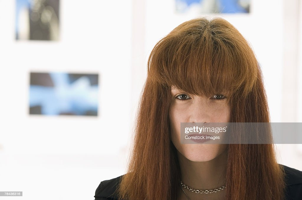 Woman with bangs : Stockfoto