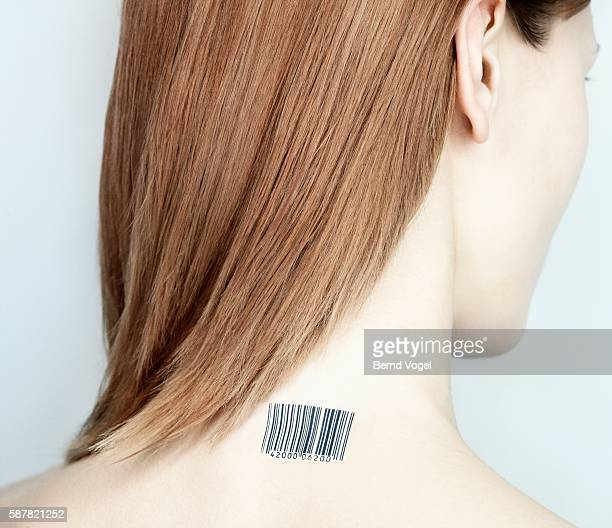Woman with bar code on neck