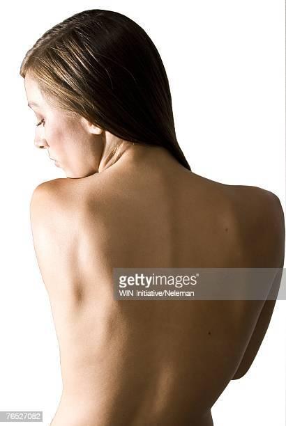 woman with bare back, rear view - beautiful bare women photos et images de collection