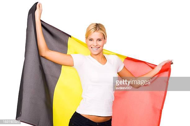 femme avec drapeau belge - drapeau belge photos et images de collection