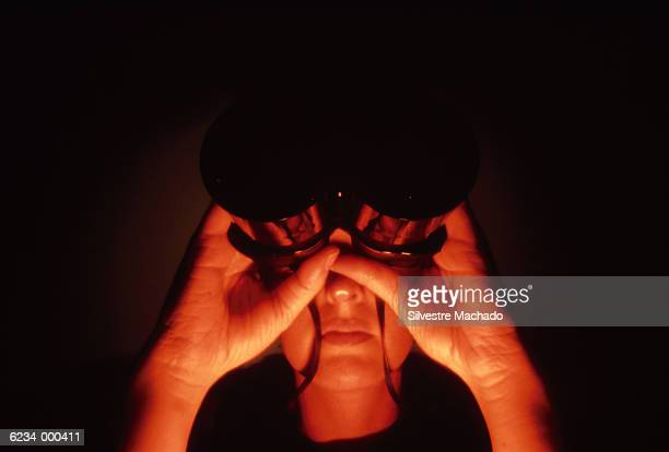 woman with binoculars - lech stock pictures, royalty-free photos & images