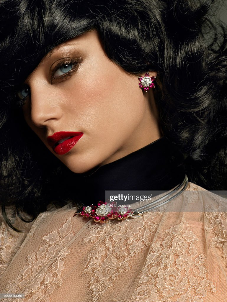 Woman with black hair : Stock Photo