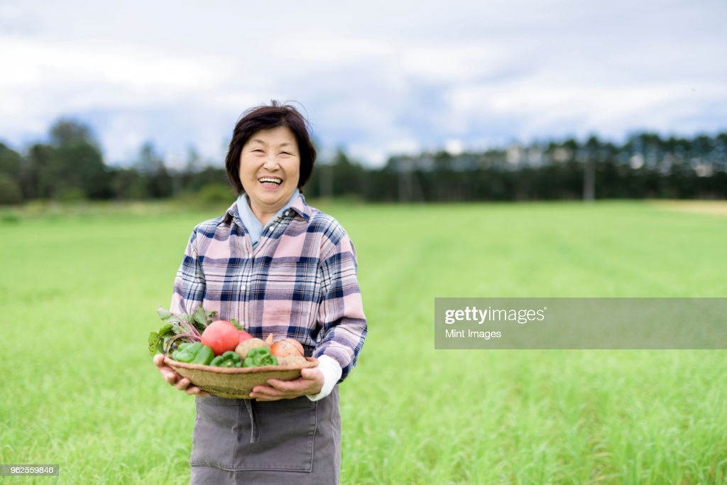 Woman with black hair wearing checkered shirt standing in a field, holding basket with fresh vegetables, smiling at camera. : ストックフォト