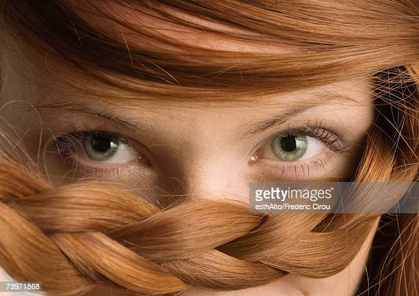 woman with braid under eyes, close-up - green eyes stock pictures, royalty-free photos & images