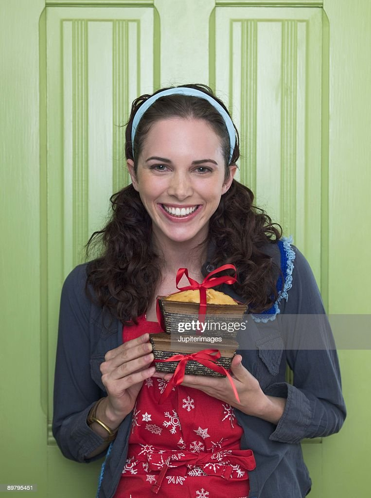 Woman with bread : Stock Photo