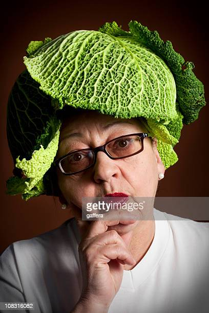woman with cabbage hat