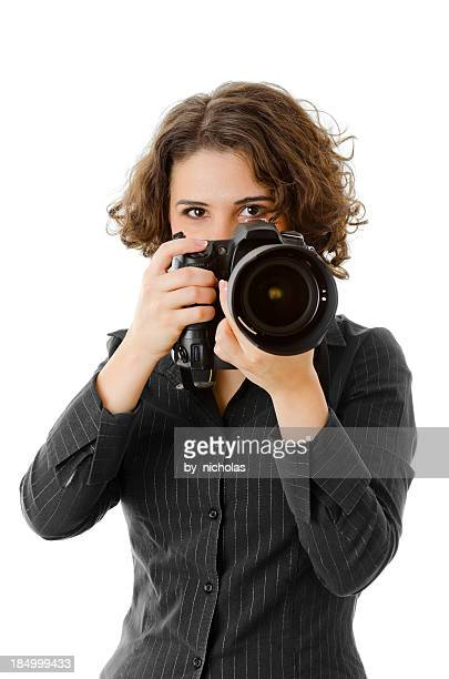 Woman with camera, isolated on white