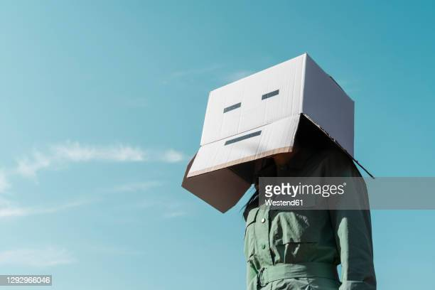 woman with cardboard box on her head standing against sky - hiding stock pictures, royalty-free photos & images