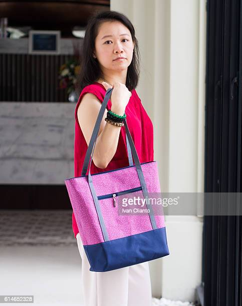 Woman with casual tote bag