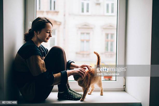 woman with cat - aaien stockfoto's en -beelden