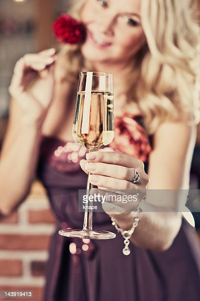 woman with champagne glass - champagne coloured stock photos and pictures