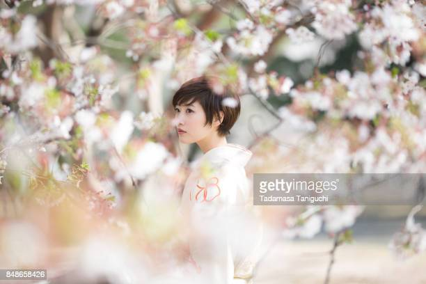 woman with cherry blossom - cherry blossom in full bloom in tokyo stock pictures, royalty-free photos & images