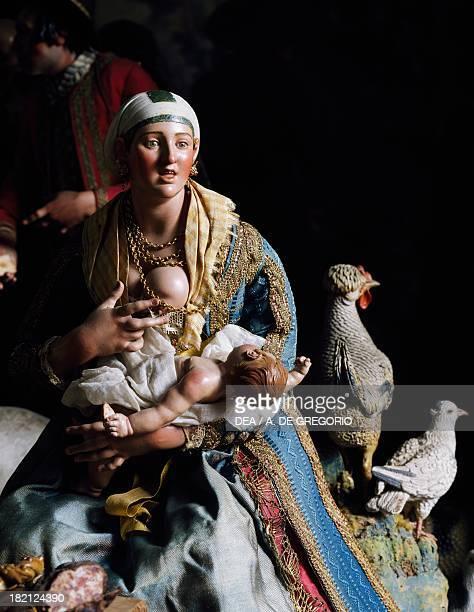 Woman with child figurine from Neapolitan nativity scene Italy 17th century Naples Museo Nazionale Di San Martino
